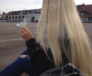 girl, blonde, and smoke image