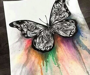 artsy, butterfly, and watercolor image
