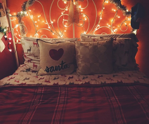 christmas, bed, and bedroom image