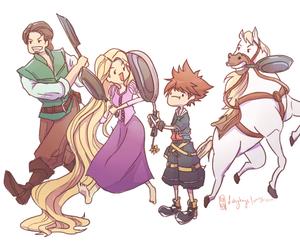 kingdom hearts, rapunzel, and sora image