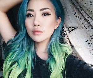 dyed hair, aesthetic, and blue hair image