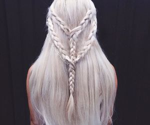 hair, braid, and white image
