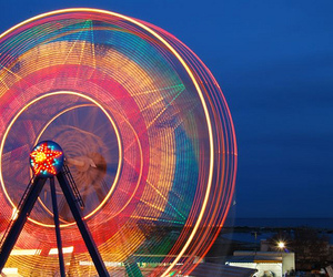 light, colors, and ferris wheel image