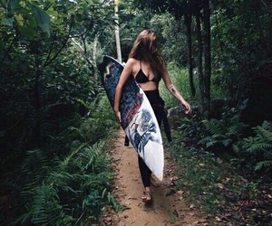 beach, forest, and hawaii image