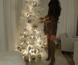 christmas, brunette, and decor image