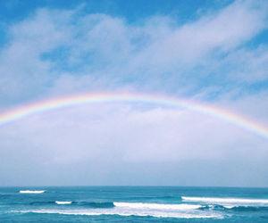 ocean, beach, and rainbow image