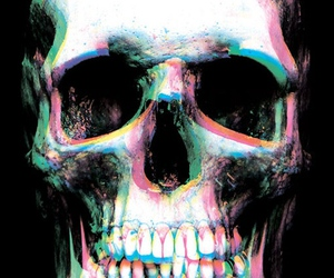 skull, 3d, and black image