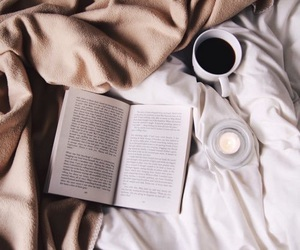 book, coffee, and bed image