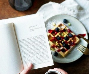 book, coffee, and food image