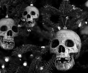 skull, christmas, and tree image