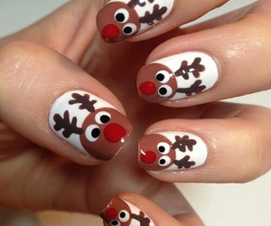 nails, christmas, and reindeer image