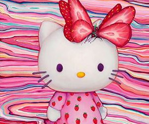 art, hello kitty, and strawberry image