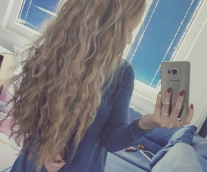 blonde, blue, and curly image