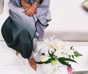 abaya, flowers, and heels image