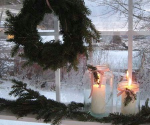 candles, christmas, and snow image