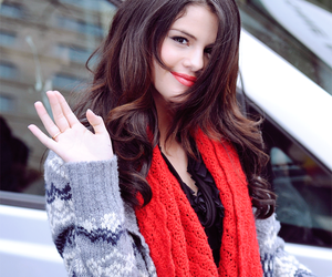 beautiful woman, red, and selena gomez image