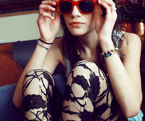 girl, sunglasses, and lace image