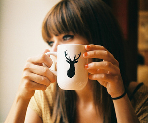 girl, cup, and coffee image