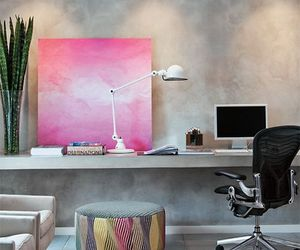 grey, home office, and pink image