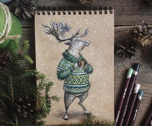 art, deer, and sweater image