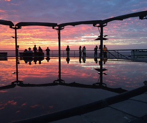 background, sunset, and malecon image