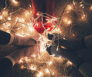 christmas, light, and socks image