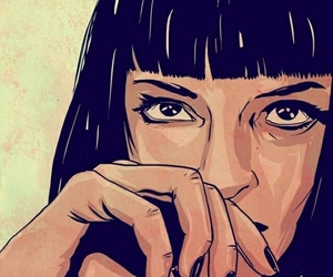 pulp fiction, art, and drawing image