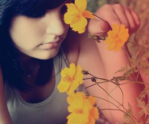 flower, girl, and photo image