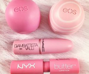 pink, eos, and makeup image
