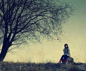 girl, alone, and tree image