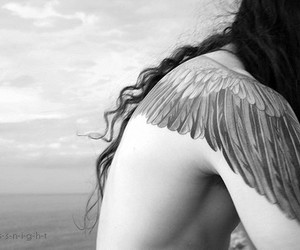 angel, black and white, and girl image