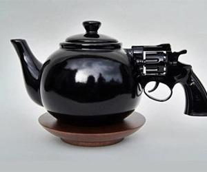 gun, black, and tea image