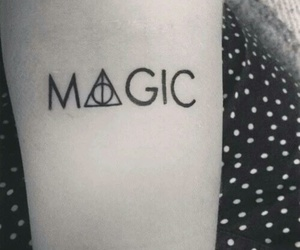 black and white, deathly hallows, and Tattoos image