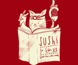 cat, kitty, and sushi image