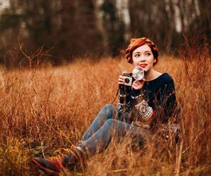 camera, girl, and red hair image