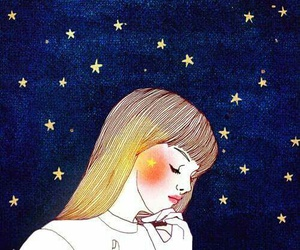 stars, girl, and art image