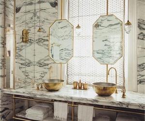 bathroom, marble, and black image
