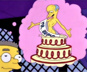 the simpsons, cake, and smithers image