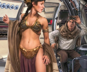 carrie fisher, fan art, and han solo image