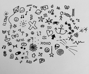 black and white, doodle, and grunge image
