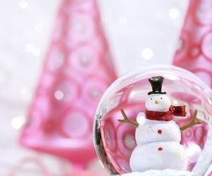 christmas, snow, and pink image