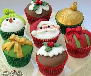christmas, cupcake, and santa image
