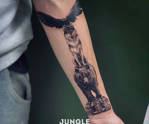 bear, eagle, and tattoo image