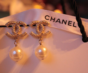 chanel, earrings, and pearls image