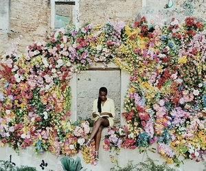 black model, flowers, and photography image