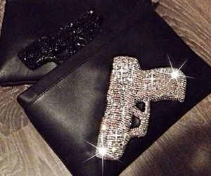 gun, diamond, and luxury image