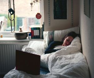 bed, room, and sleep image