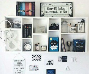 room, books, and white image
