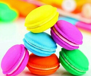 food, ‎macarons, and love image