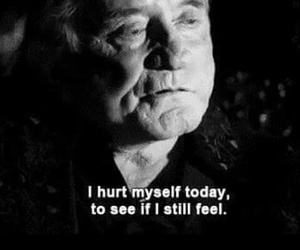 hurt, Johnny Cash, and sad image